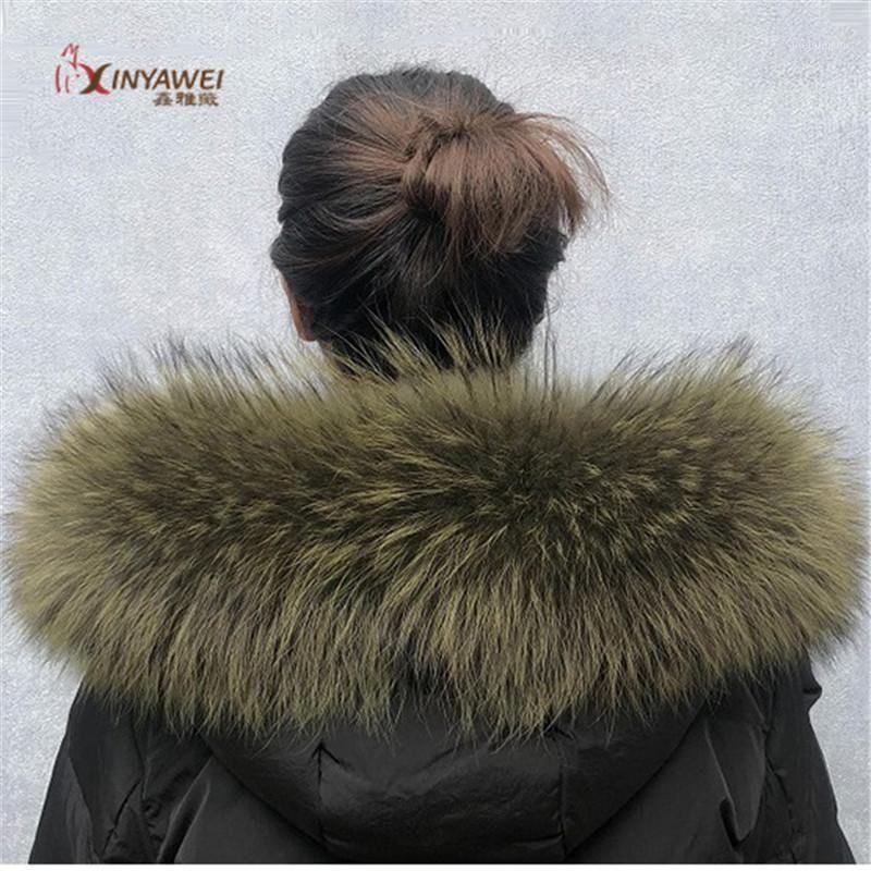 Реальный меховой воротник для Parkas Coats роскошный теплый натуральный енот шарф женские большие меховые шарфы мужские куртки 75см.1