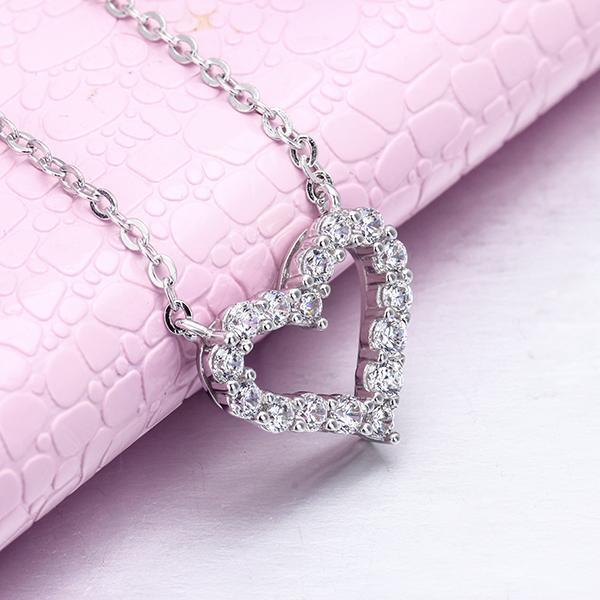 Cheestar Gems 925 Sterlingsilber-Frauen-Herz-Halskette Verpflichtungs KubikZircon Damen-hängende Halskette-freies Verschiffen