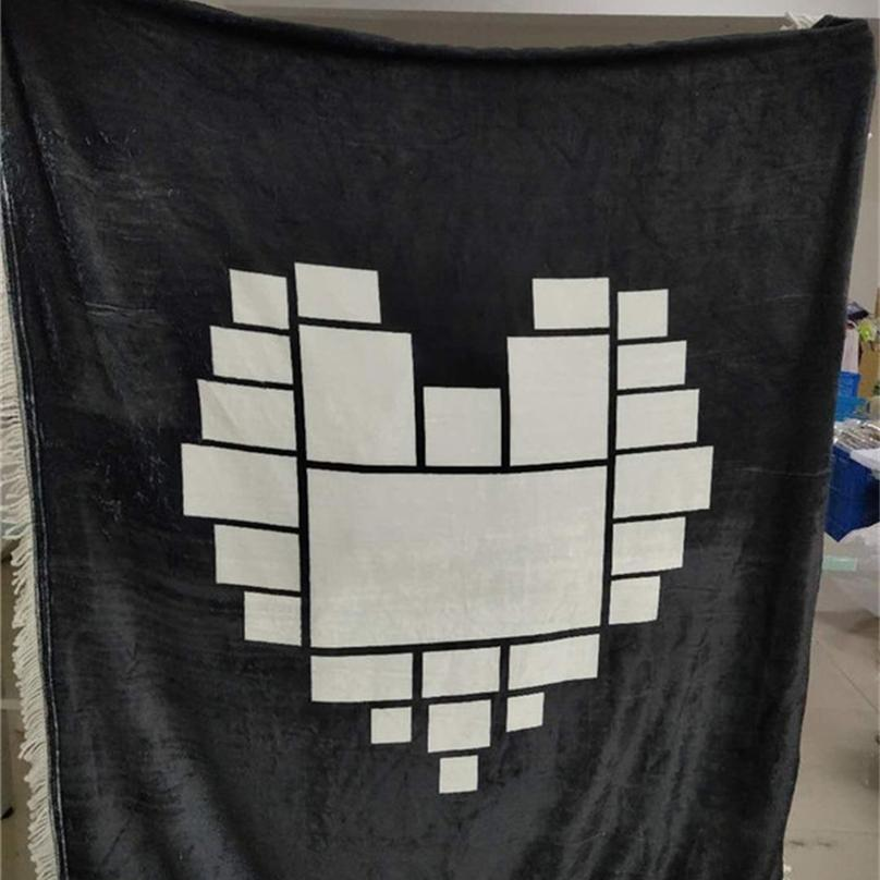 125 * 150 cm Sublimation Quaste Blanket Valentinstag Herz Mond Druck Wärme Thermische Übertragung Plüsch Matte DIY Blank Matte Decken Bettwäsche H12505