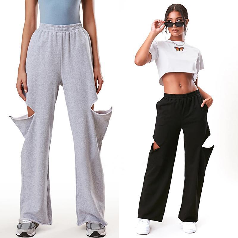2020 Sweatpants Kadınlar Baggy Pantolon Kadın Gri Bahar Geniş Bacak Ter Pantolon Boy Joggers Streetwear Yüksek Vuran Pantolon