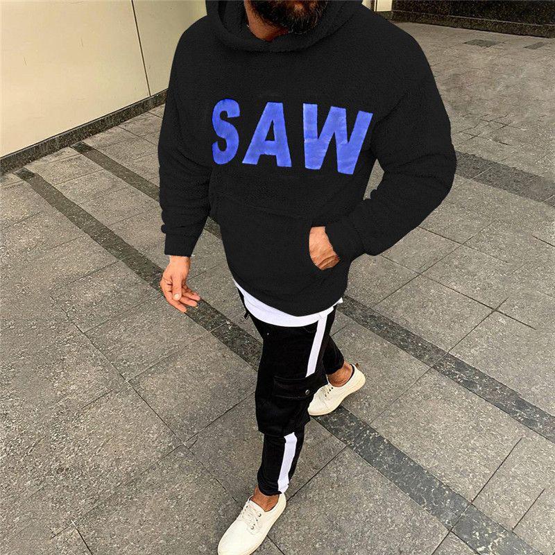 SAW Impresso Mens Fleece Jacket Outono Inverno Designer Letter Moda Pullover Hoodies manga comprida Casual