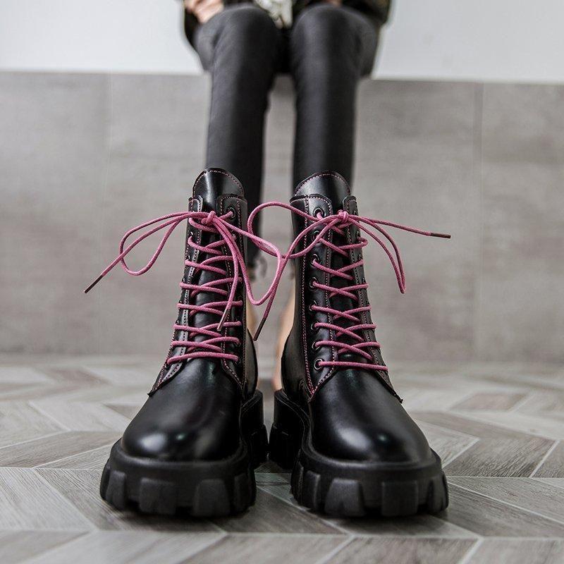 Botas para mujer tobillo damas otoño antideslizante cremallera sólido pu zapatos de costura hembra plataforma baja tacones casual botas mujer