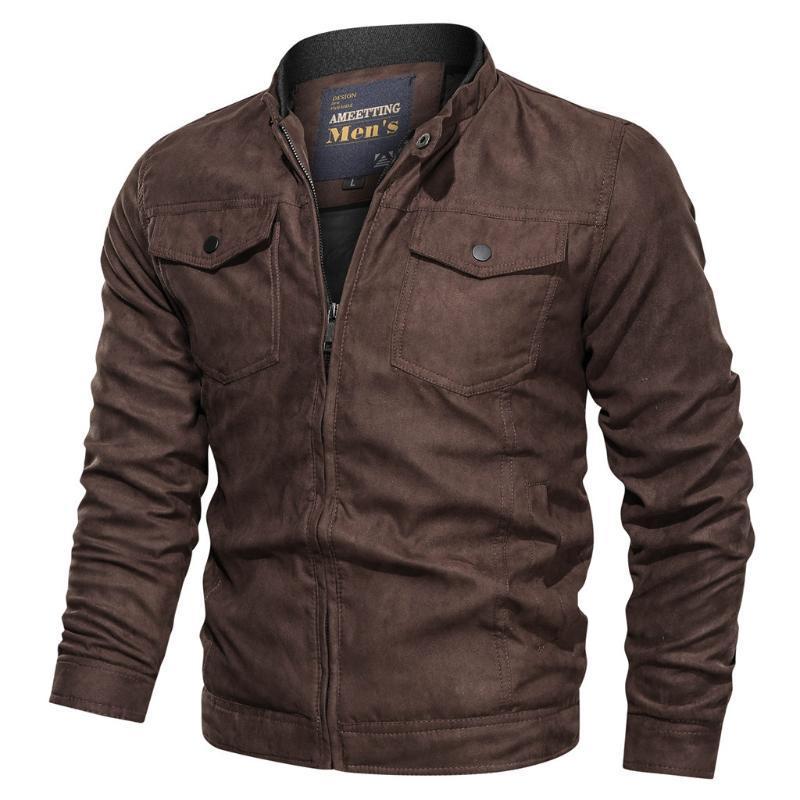 Chaqueta de cuero para hombre abrigo de otoño invierno vintage cremallera soporte collar sólido patchwork stand imitación chaqueta hombre bombardero A35