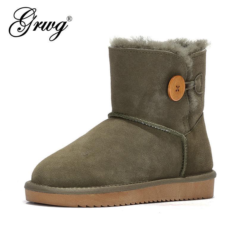 GRWG novíssimo couro genuíno de 100% lã botas de neve para as Mulheres mini-botas botão tornozelo inverno Shoes frete grátis 201022
