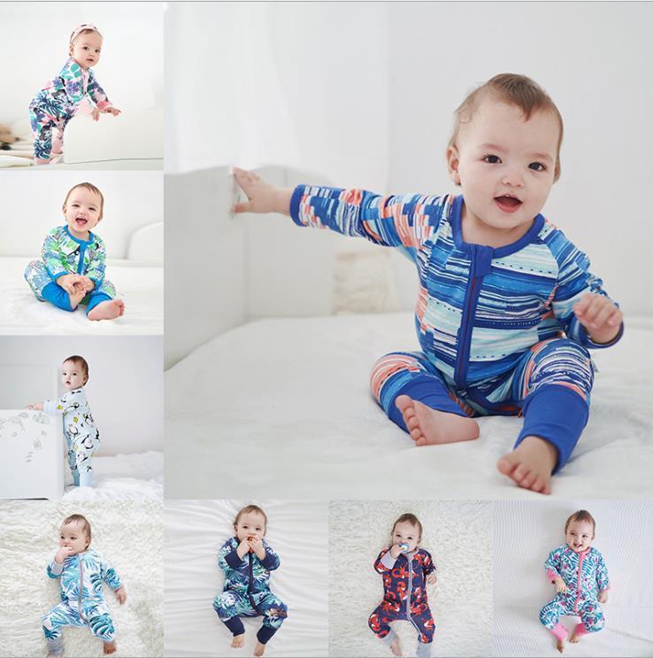 Младенец Детские Полосатый Footed Handed Pajama Sleeper Zipper Romper Baby Boy Одежда