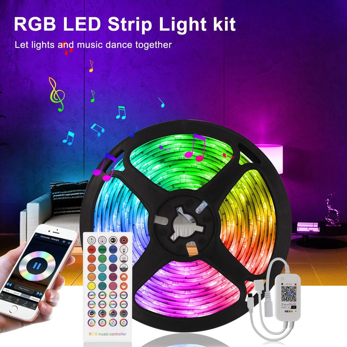 5m 10m LED-LED-Lichter Micomlan-Musik-Sync-Farbwechsel RGB-LED-Streifen eingebautes MIC-Bluetooth-App-gesteuert