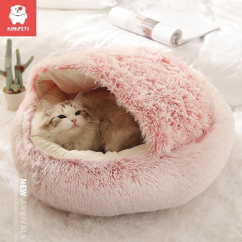 Kimimpets nid de chat chaud en hiver semi fermé profonde sommeil abri de chat lit animal domestique chiot nid produits par temps froid