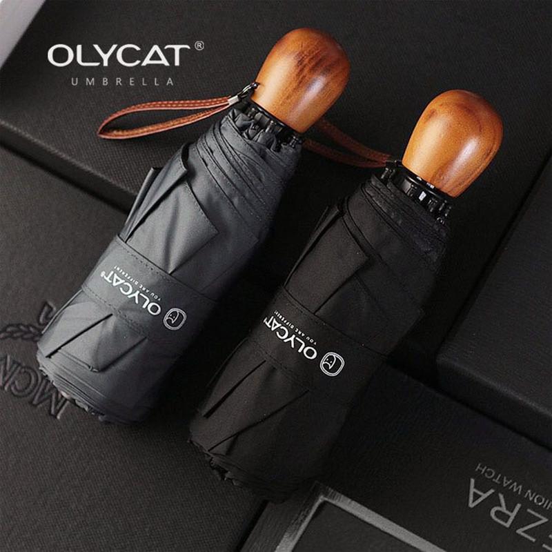 Olycat Compact Mini Женщины Детские и Мужские Карманные Деревянные Ручка Ветерзащитный УФ Складной Зонт 201104