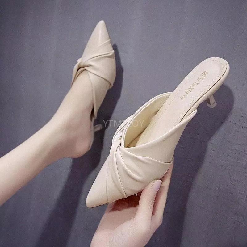 Kadın Terlik İnce Düşük Topuklu Sığ Tasarım Sandalet Üzerinde Kayma Slaytlar Katırlar Ayakkabı Rahat Pompalar Zapatillas Mujer Casa # J91N