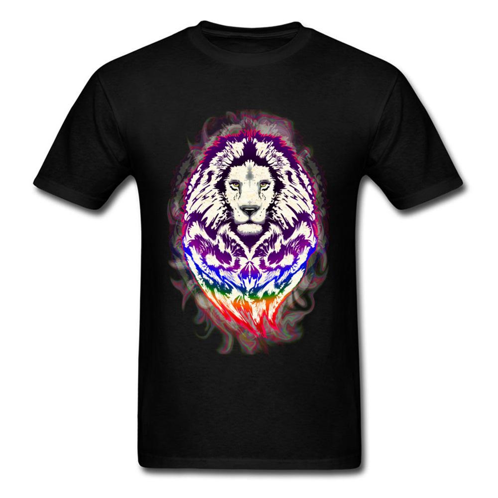 Pazzo Top T-shirt girocollo Plain leone Psychedelic Art Tessuto Man Tops Camicia Gruppo manica corta T-shirt sportiva Felpa con cappuccio Felpa con cappuccio