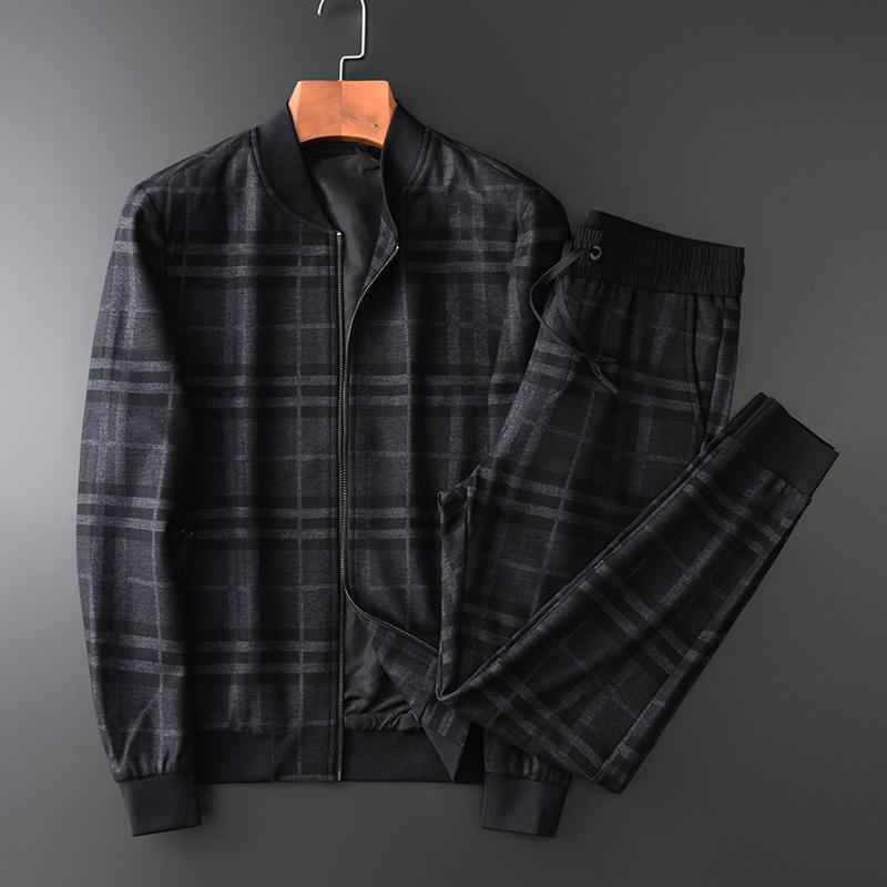 Minglu Mens Ensemble (Vestes + Pantalon) Luxe Fils épais Teint Plaid Col Collier Mannes manteaux Pantalons de taille élastique