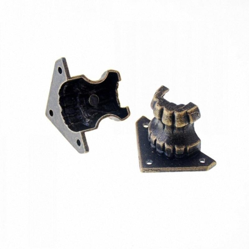Envío libre joyería 8pcs de bronce antiguo Pies Caja de regalo de madera Caso decorativo pierna protector de la esquina 22x34x20mm Z2VF #