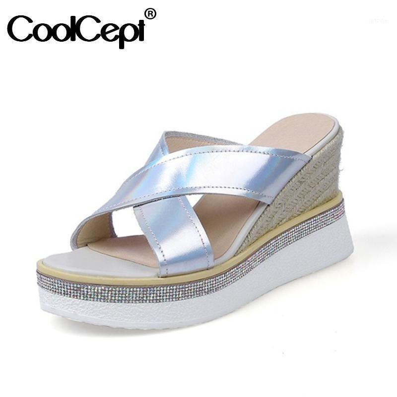 Femme Coolcept Femme High Croîmes Chaussures En Cuir Véritable Plate-forme haute Plate-forme Summer Shoes Femmes Mode Daily Femme Chaussures Taille 34-391