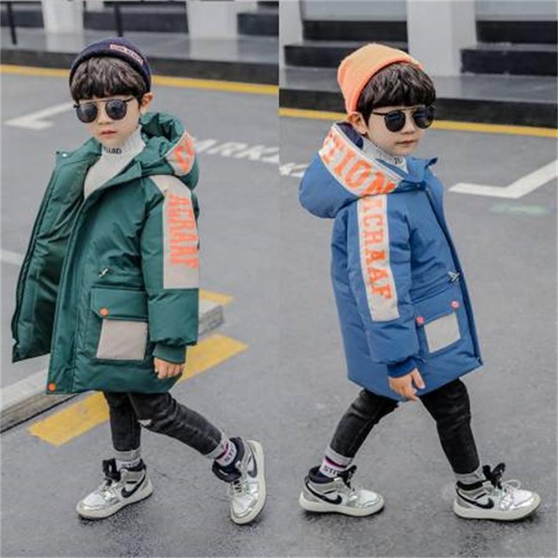 Bambini ragazzi Parka Cappotto imbottito Inverno 2020 Nuova lettera per il tempo libero con cappuccio Down Pulffer Giacca per bambini Bambini Capispalla Vestiti Blu 1-10 anni