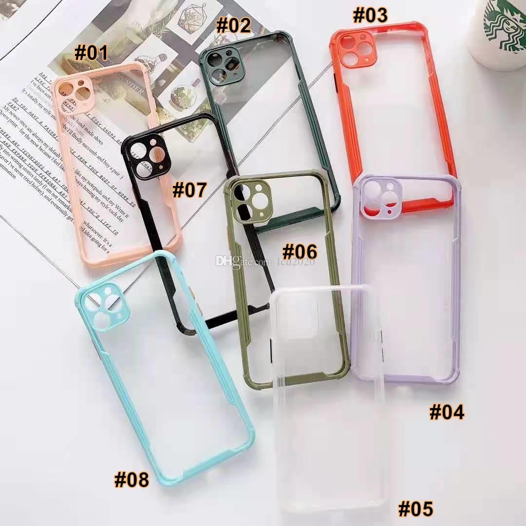 جديد iPhone 12 12Pro 12Pro ماكس 12mini واضح الظهر الملونة مربع الإطار مربع آيفون 11 × 7 8