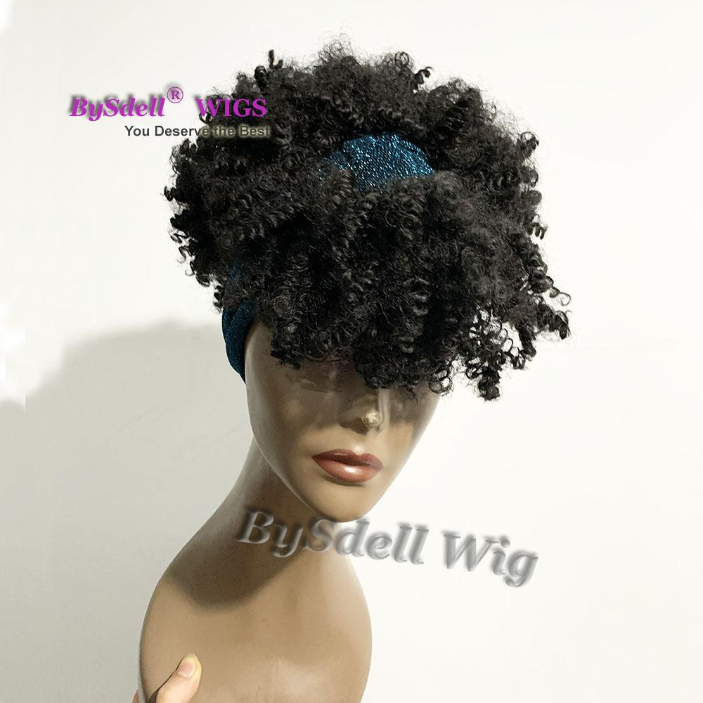 synthetic Afro Puff bang wig real picture showing kinky curly wigs for black women fringe with high ponytail cap wigs