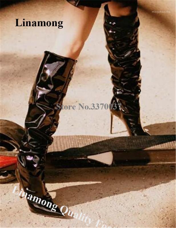 Frauen Klassischer Stil spitzer Zehe Patent Leder Knie Hohe Stiletto Fersenstiefel Glänzende Schwarz Weiß Plissee Lange High Heel Boots1