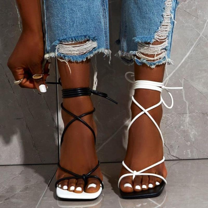 Sandalias de banda estrecha Mujeres mezcladas Color de Color Superior Punta abierta Tacones altos delgado Cross Tobillo Correa de correa de correa de cordones de gran tamaño 42 zapatos de moda