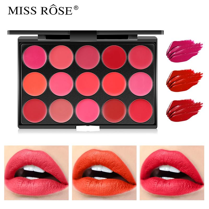 NEW ARRIVAL Miss Rose 15 Colors Matte Lipstick Palette Waterproof Nutritious Lips Makeup Long Lasting Brand Lipstick