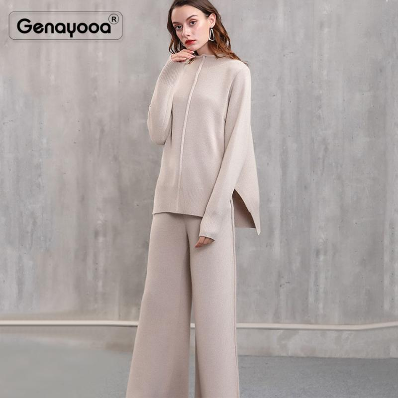 Genayooa высококачественный кашемир трексуита женщин зима двух частей комплект брюки 2 шт набор женщин свитер + брюки офисные леди корейский