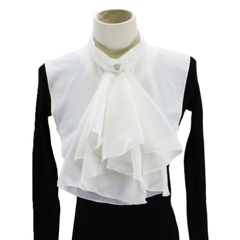 Women Vintage Ruffles Bowknot Half Shirt Blouse Chiffon False Fake Collar