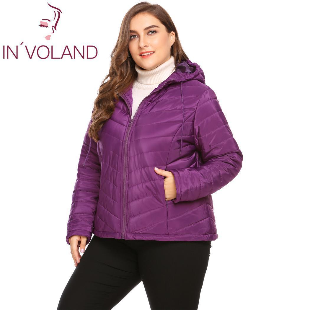INVOLAND Плюс Размер Женская куртка пальто на молнии с длинным рукавом осень куртка с капюшоном проложенный Женщины Шинель большого размера хлопка зимнее пальто 201015