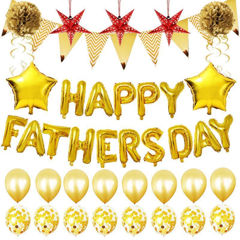 Padre de globo Carta Día Conjunto feliz del día de padre Carta del papel de aluminio globos de látex fiesta de cumpleaños de globos decoración de la boda NWD26