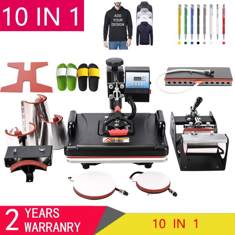 10 in 1 Combo Heat Press Machine Sublimation Heat Transfer Machine For T Shirt/Plate/Mug/Shoe/Pen/Cap/Phone Case/Bottle