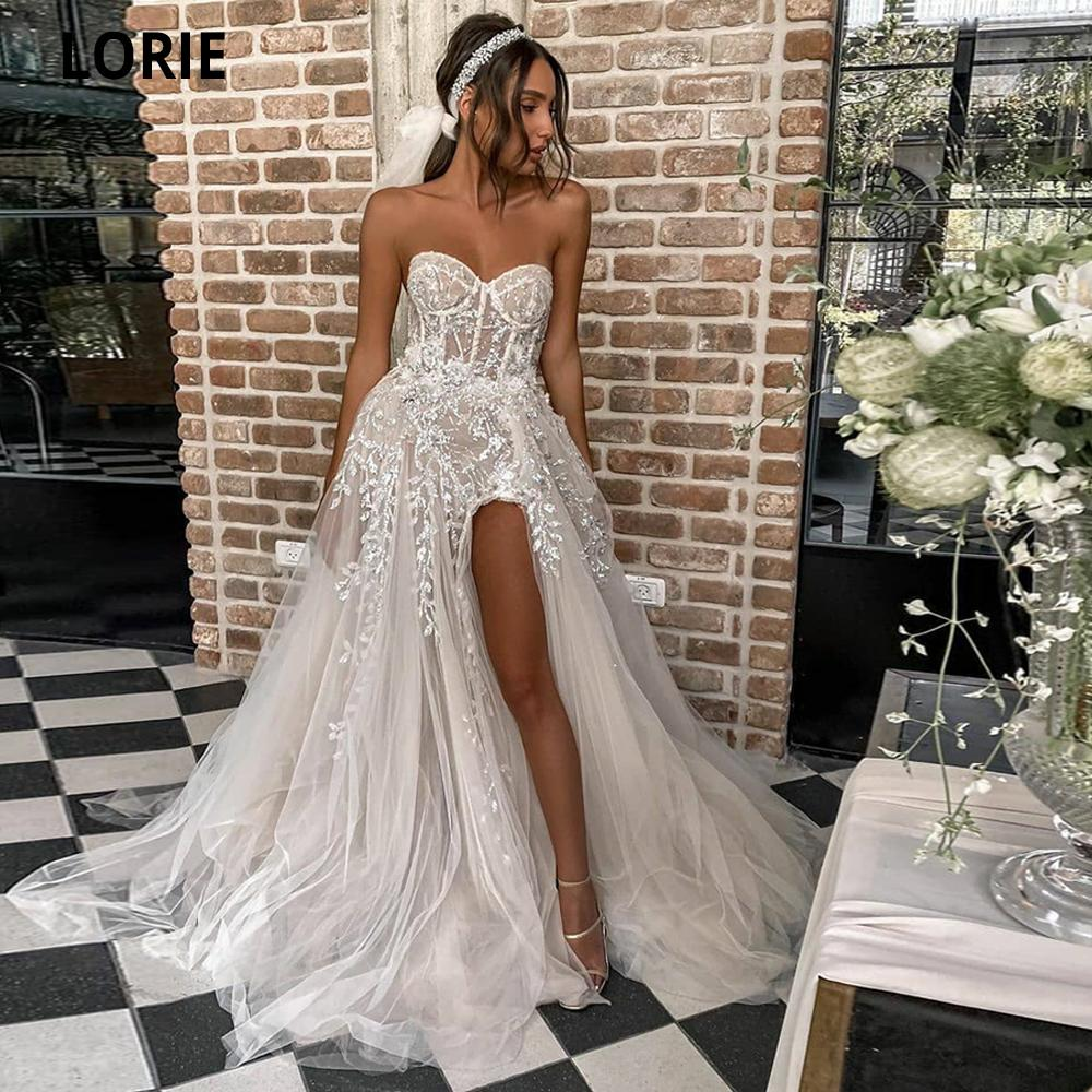LORIE Sexy Beach For Bride Elegant Lace Boho Wedding Gowns Strapless Sleeveless High Split Princess Dresses 2021 Q1110