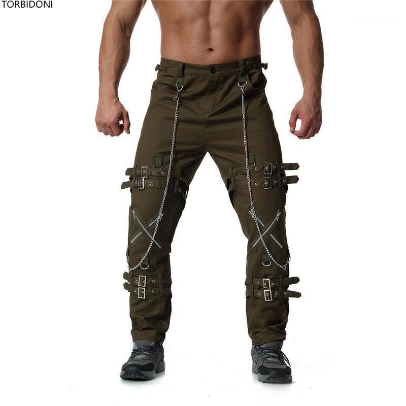 Pantalones para hombres Hombres casuales Hip Hop Cargo Moda Tendencia Pantalón Pantalón recto Streetwear Pantalon Hombre Personalidad Zipper Design1