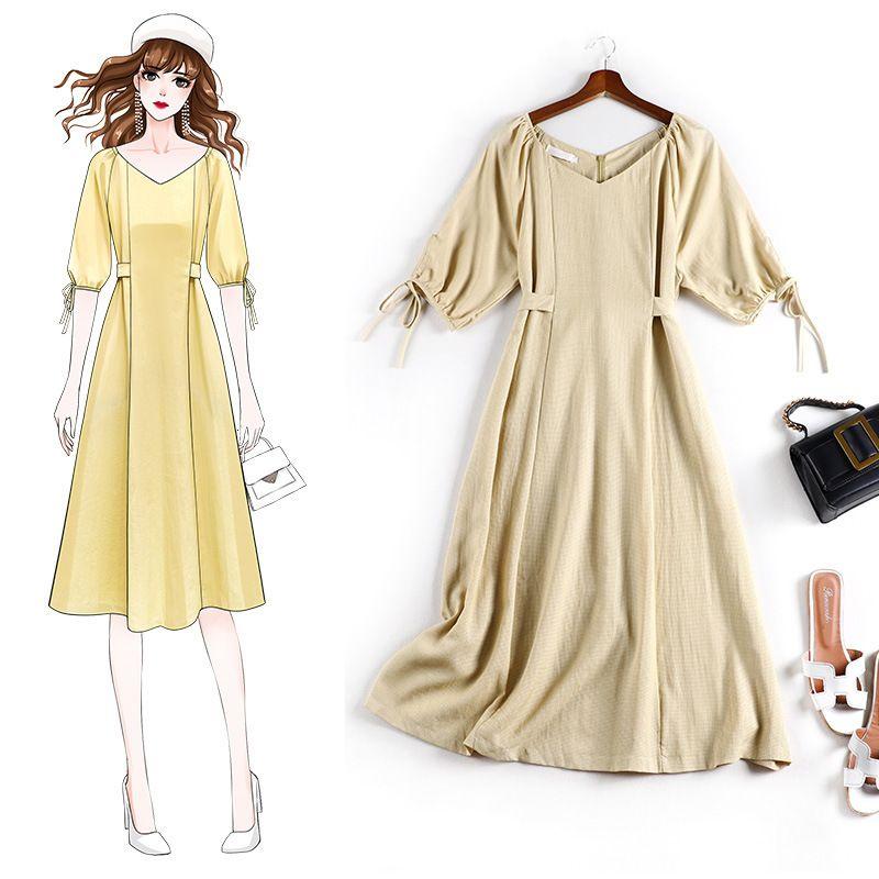 2021 Women Large Long Closed V-necked Summer More Dressed Girl Al6005 Sizes Dress Q9si
