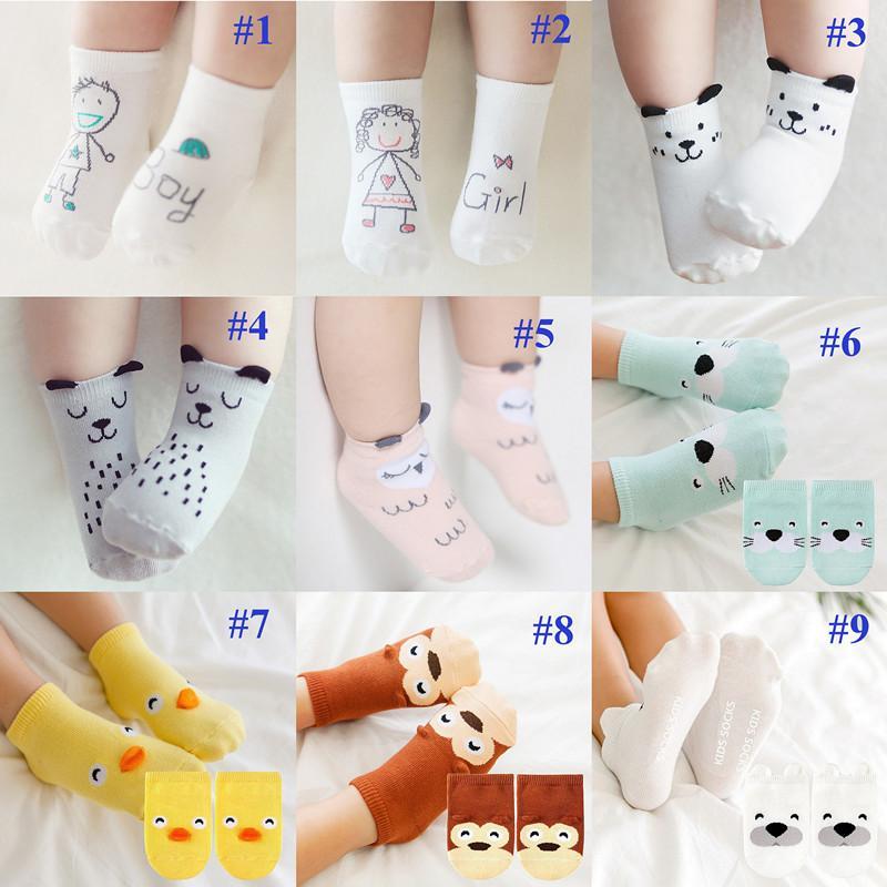 Calcetín de bebé algodón niño recién nacido niña asimétrica dibujos animados suelo calcetines antideslizante cerdo tigre bebé 13 colores