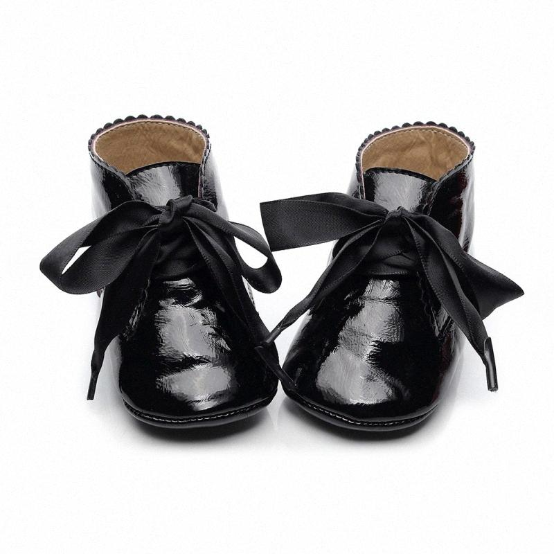 0-24M Baby Girl PU Leather Shoes Infant Non-slip Lace Soft Walking Shoes Toddler Kids Prewalker C6kg#