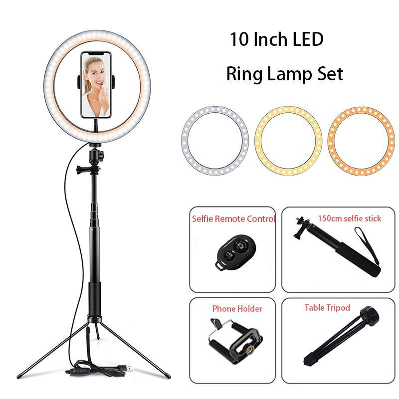 10 Inch LED Ring Lamp Tripod Youtube Live Video Light Photography Props 150cm Make Up Selfie Stick Led Ring Light