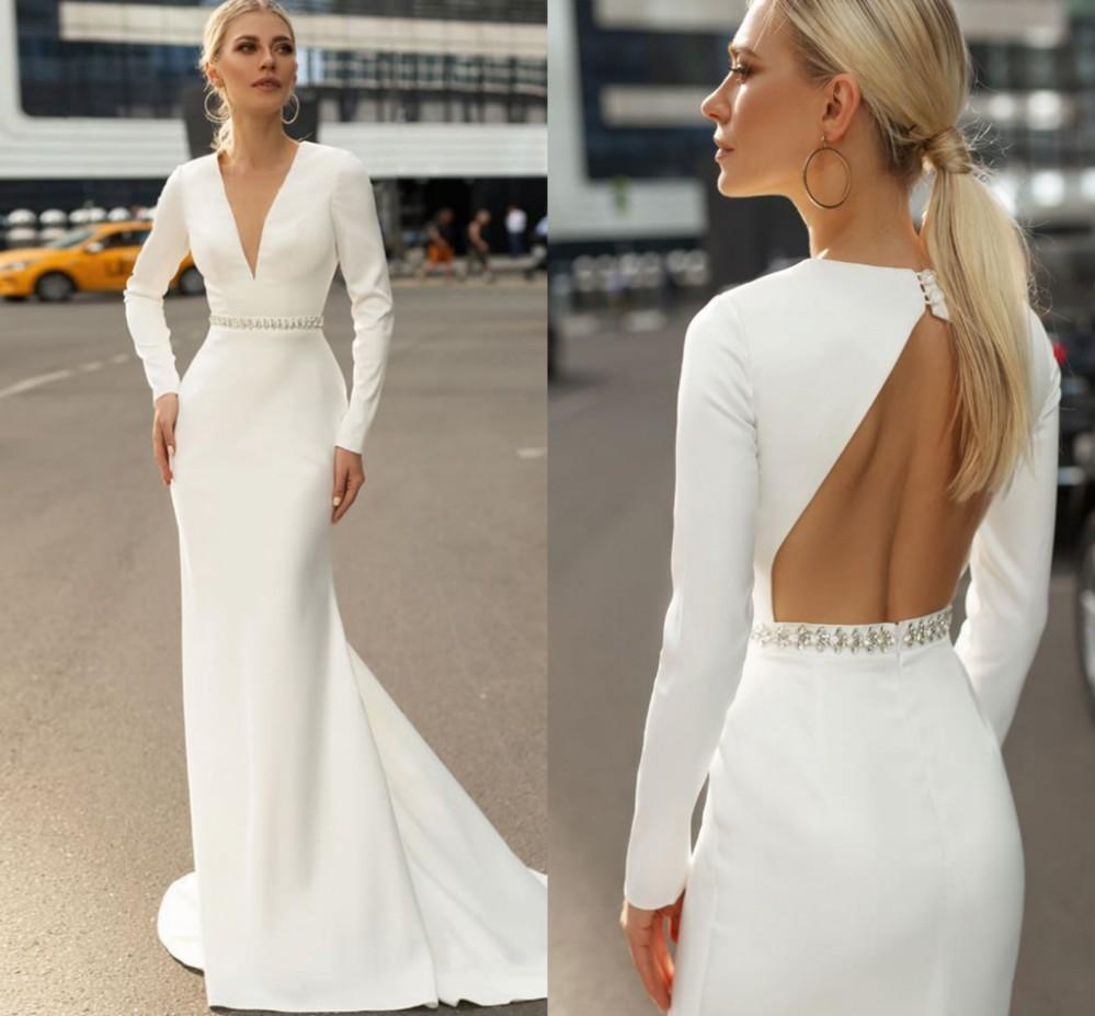 2021 Zarif Klasik Mermaid Düğün Elbiseler V Boyun Backless Tam Uzun Kollu Sweep Tren Boncuk Basit Gelin Törenlerinde Evlilik Elbise