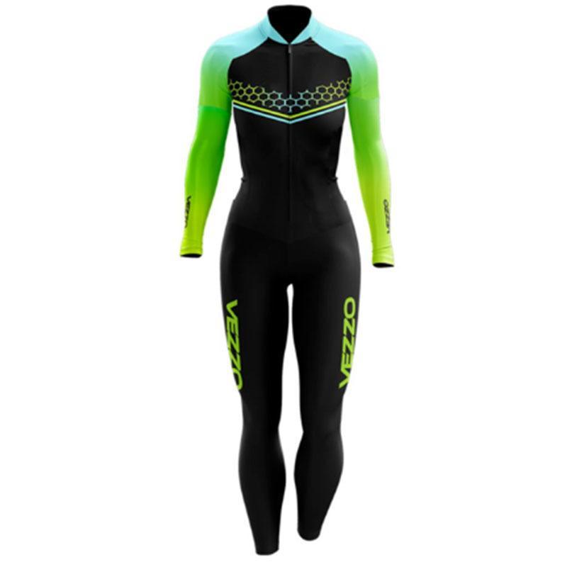 2021 Vêtements de Vezzo Long Triathlon Vêtements Vélo Skinsuit Maillot Ropa Ciclismo Go Pro Gel Pad Jersey Ensembles Jumpsuit C0123
