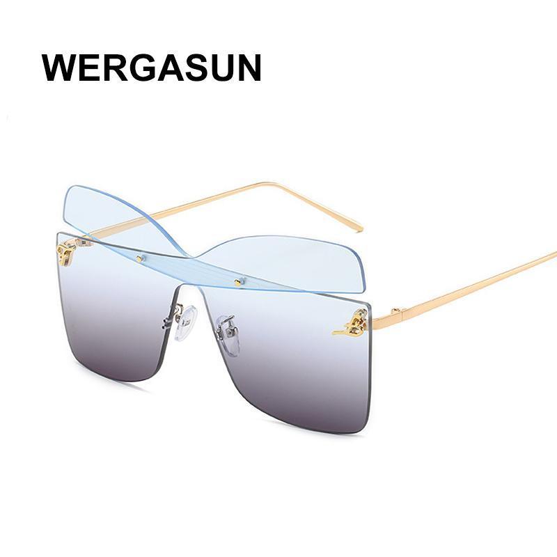 Wergasun Mode UV400 Frauen Vintage Frauen Randlose Qualität Gradient Sun Randlose Sol Gläser Damen Hohe Sonnenbrille De Nwqod
