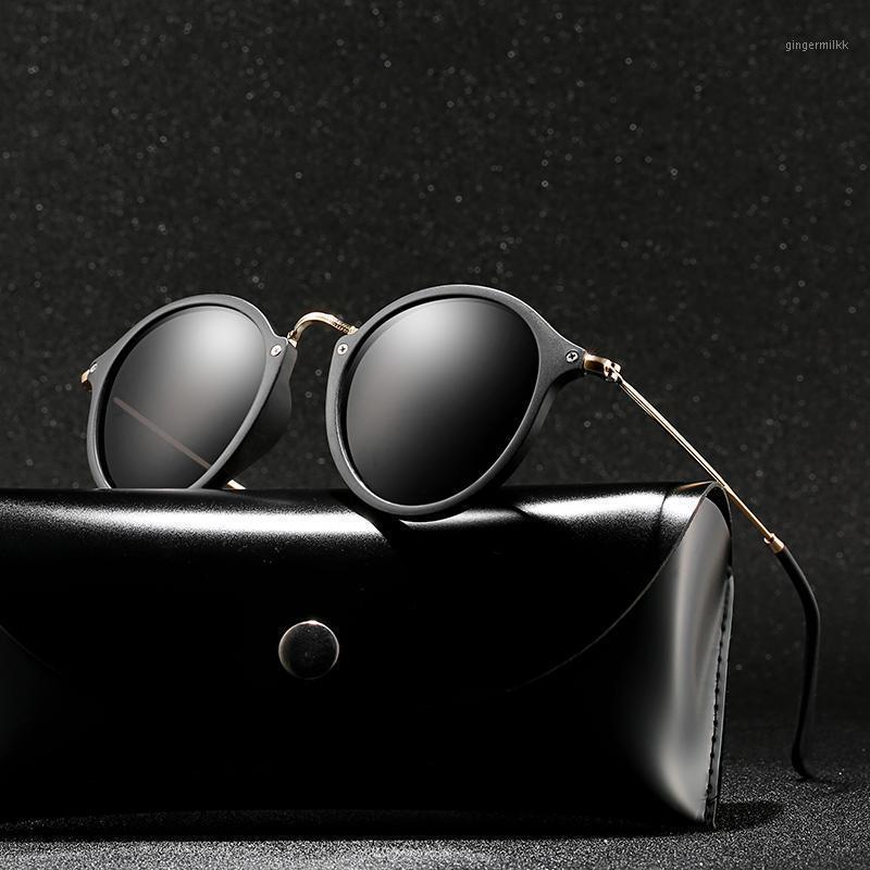 Солнцезащитные очки с случаем Polaroid унисекс круглые старинные солнцезащитные очки солнечные очки поляризованные ретро для женщин MEN1