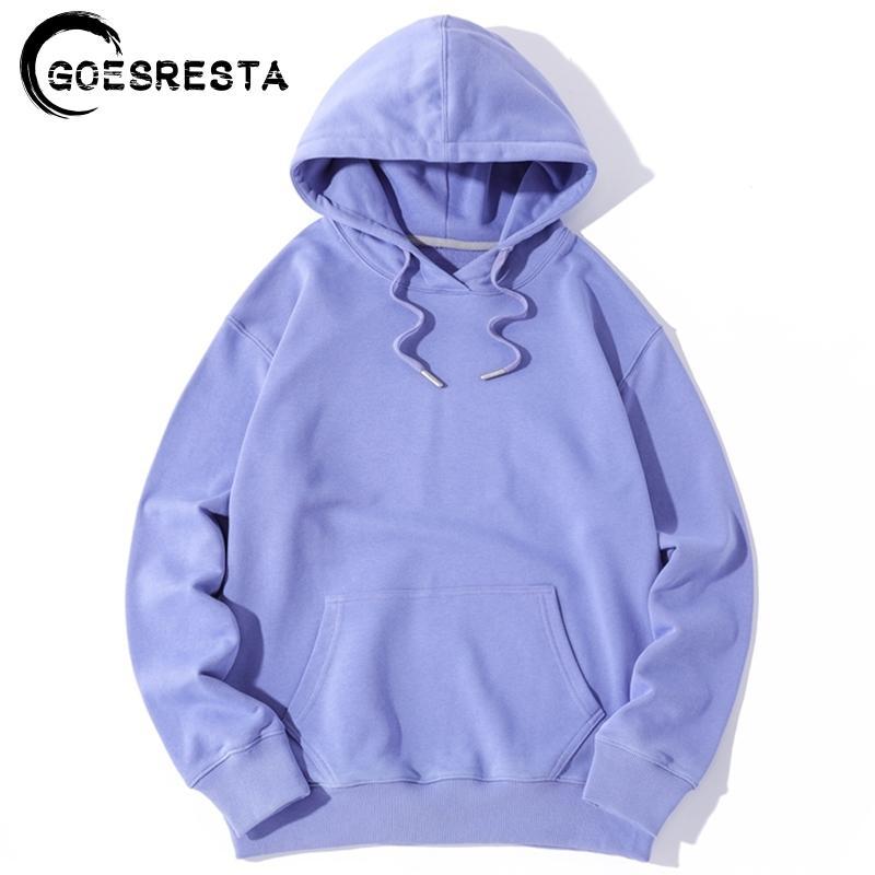 Goesresta Yeni Sonbahar Erkek Hoodies Pamuk Boy Hip Hop Harajuku Saf Kapüşonlu Rahat Streetwear Uzun Kollu Hoodies Kadınlar 201104