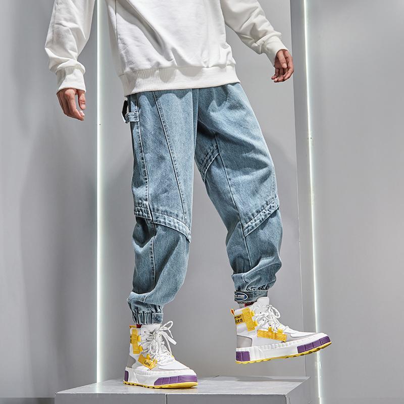 Мужские джинсы модные дизайнерские мужчины Свободные FIT SPRICES DENIM Грузовые брюки Японские винтажные хип-хоп Joggers