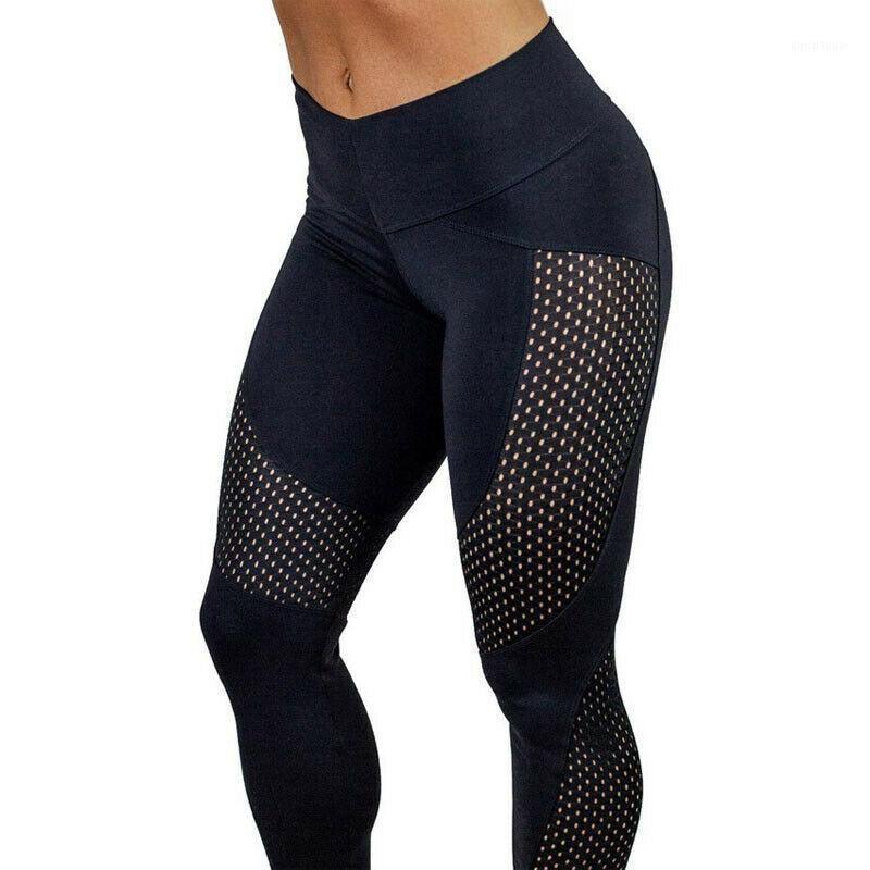 2020 Nueva Moda Hot Women Cintura Alta Yoga Gimnasio Pantalones Gimnasio Deporte Patchwork Patching Leggings Yoga Pantalones Traje para mujer1
