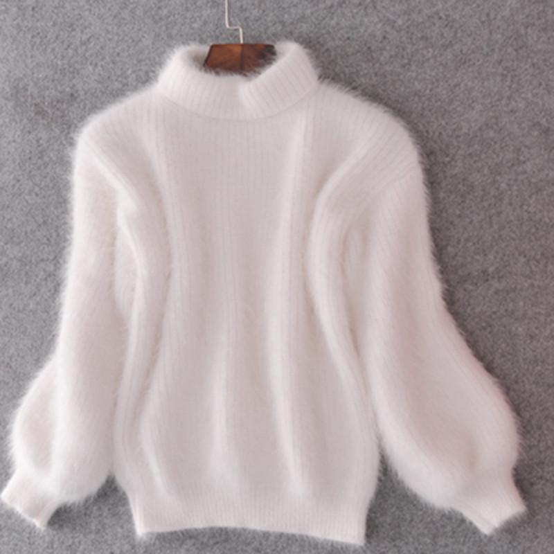 Зима Новая мода утолщенная тепловая водолазка мохаин женский свитер фонарь рукава случайный сплошной цвет тонкий простой пуловер 201006