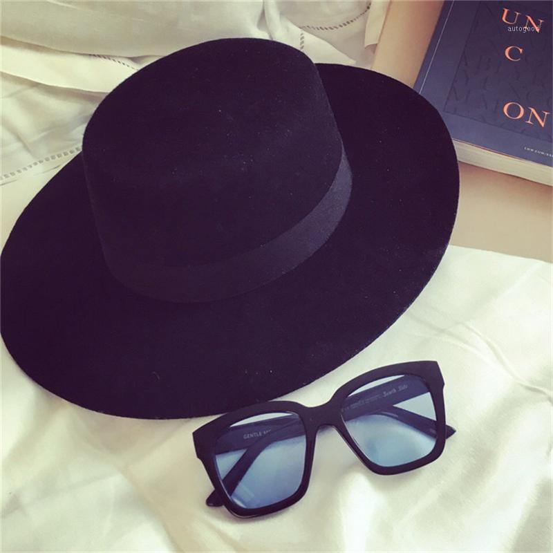 Geniş Ağız Şapkalar Klasik Katı Renk Keçe Fedoras Şapka Erkekler Kadınlar Için Yapay Yün Karışımı Caz Cap Basit Düz Üst Hat1
