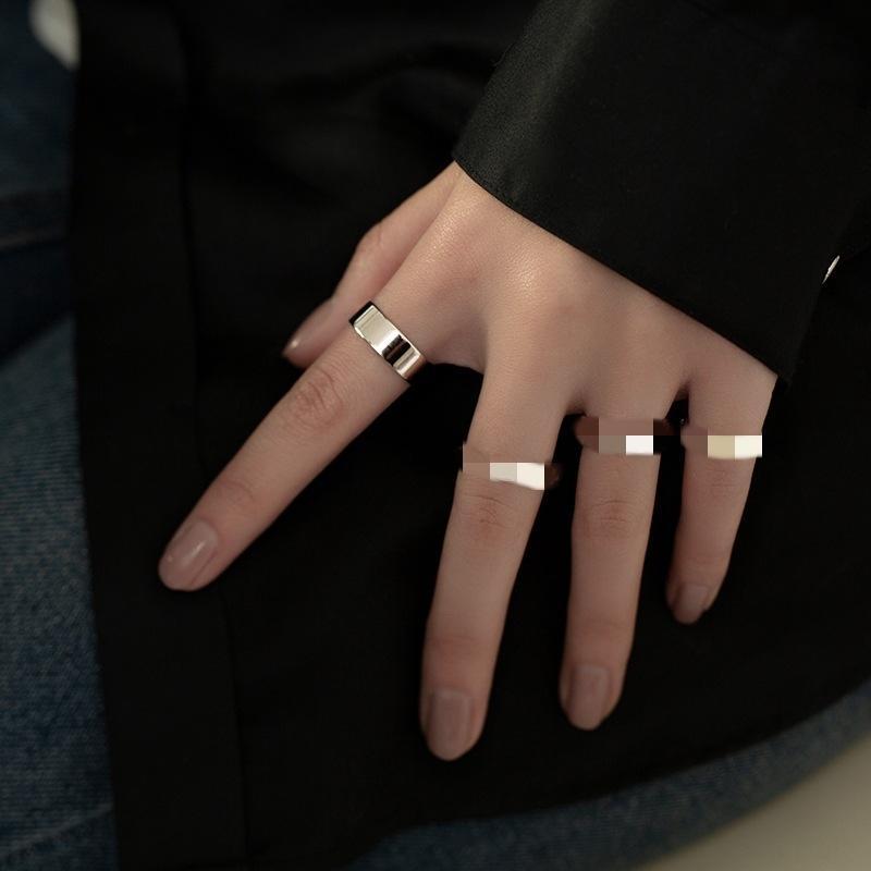 2BT6R-Kette Smooth 925 Sterling Damen Simple Design Mode Silber Silber Ring Kalt Wind Klar Ring Eröffnung Persönlichkeit Trend