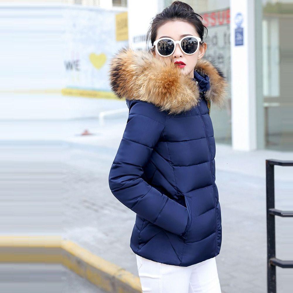 Progettare 2020 Nuovo, le donne cappotto di modo falso Raccoon collo di pelliccia della donna di inverno tuta sportiva calda del parka Donna Down Jacket AOFW