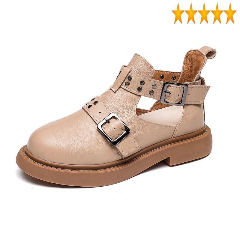 Sandali Sandalo calzature da donna estate esterna piattaforma piatta piattaforma antiscivolo rivetti di moda rivetti fibbia cinturino in vera pelle femminile scarpe casual