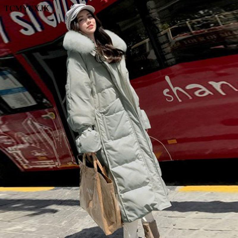 Вниз куртка Женской Расширенной Parka пальто на зиму 2020 Новой моды принцесса рукав с капюшоном толстой теплого мехового воротника куртки Пальто