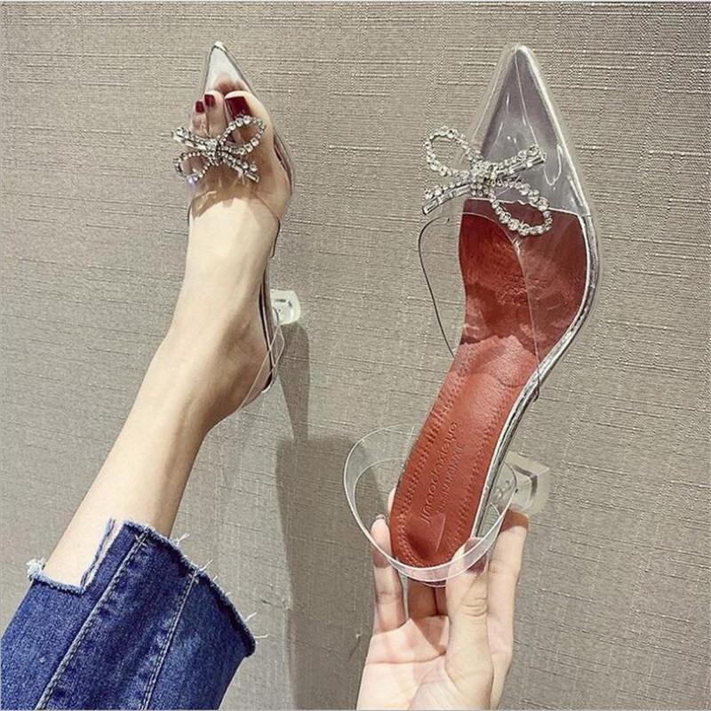 Новые 2020 Пвх Clear Прозрачный Фетиш Роскошная женщина Экстремальные Мулы Супер Высокие каблуки Женщины Сексуальная обувь Женская Насосы Сандалии
