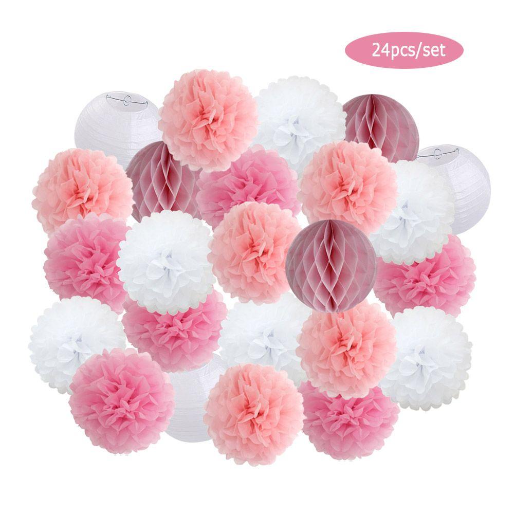 "Blue Pink Set 6"" Round Paper Lantern For Baby Boy Girl Shower Decor Wedding Party Decoration Hanging Paper Pompoms"