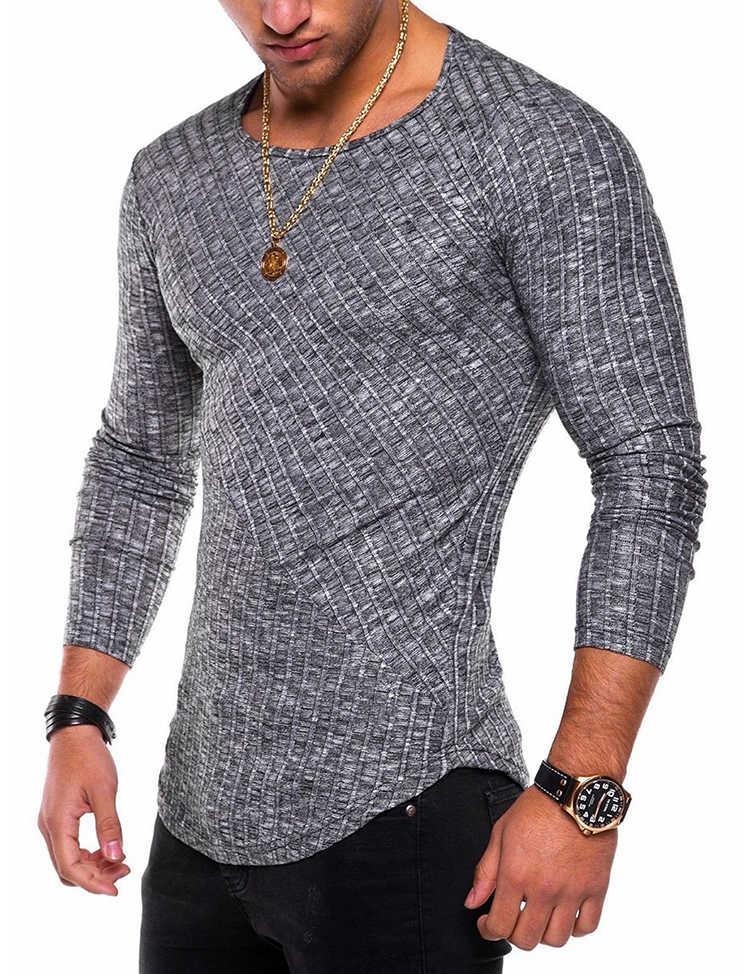 Случайные мужские уплотнительные шеи тонкий подходящий бодибилдинг мужская футболка мода трют одежды пуловер длинный рукав человек футболки дропшиппинг